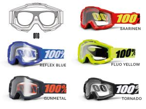 100% Accuri OTG goggle anti fog clear lens (OVER THE GLAS)
